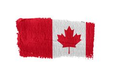Canada flag painted with a brush stroke. Canada, animation of the flag painted with a brush stroke royalty free illustration