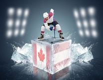 Canada- Austria game. Face-off player on the ice cube. Royalty Free Stock Photos