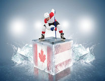 Canada - Austria  game. Face-off player on the ice cube. Stock Images