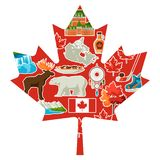 Canada background design. Canadian traditional symbols and attractions vector illustration