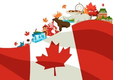 Canada background design. Canadian traditional symbols and attractions stock illustration