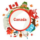 Canada background design. Canadian traditional symbols and attractions royalty free illustration