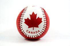 Canada Ball. Red and white canadian baseball ball stock photos
