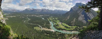 The Bow River Valley viewed from the peak at Tunnel Mountain royalty free stock photo