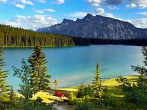Canada, Banff National Park, Mountains Lake Scene. Beautiful mountains and lake in Canadian mountains scene. Banff National Park, landscape. Alberta, Canada Stock Image