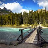 Canada, Banff National Park, Mountains River Scene Stock Photos