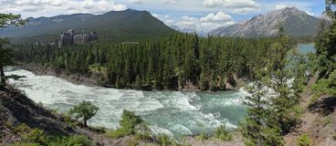 The Bow River cascades down Bow Falls royalty free stock image
