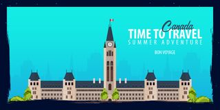 Canada banner. Time to Travel. Journey, trip and vacation. Vector flat illustration. Canada banner. Time to Travel. Journey, trip and vacation. Vector flat Royalty Free Stock Photos