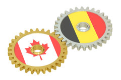 Canada and Belgium relations concept, flags on a gears. 3D rende Royalty Free Stock Photo