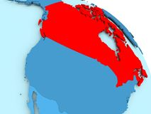 Canada on blue globe. Canada highlighted on blue 3D model of political globe. 3D illustration Stock Photography