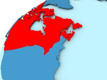 Canada on blue globe. Canada in red on blue model of political globe. 3D illustration Stock Photos