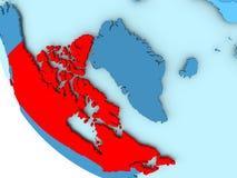 Canada on blue political globe. Canada highlighted in red on blue political globe. 3D illustration Stock Photo