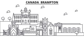 Canada, Brampton architecture line skyline illustration. Linear vector cityscape with famous landmarks, city sights Stock Photo