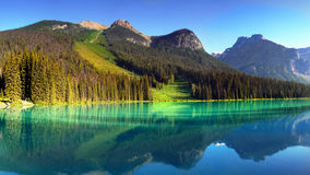 Canada, British Columbia Mountains Landscape. Scenic nature landscape with Canadian Rockies and Emerald Lake, British Columbia, Canada Royalty Free Stock Photos