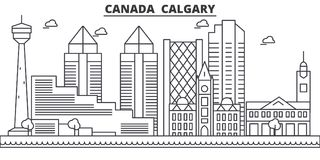 Canada, Calgary architecture line skyline illustration. Linear vector cityscape with famous landmarks, city sights Stock Photo