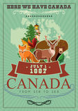 Canada. Canadian vector illustration with canadian animals. Vintage style. Travel postcard. Stock Images