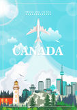 Canada. Canadian vector illustration. Travel postcard. Colorful banner Stock Photo
