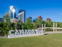 Canada 150 celebration sign. CALGARY, CANADA - JUNE 3: Special installation Canada sign celebrating Canada`s 150 birthday on June 3, 2017 in Calgary, Alberta stock image