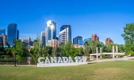 Canada 150 celebration sign. CALGARY, CANADA - JUNE 3: Special installation Canada sign celebrating Canada`s 150 birthday on June 3, 2017 in Calgary, Alberta stock photos