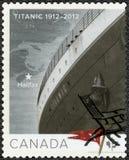 CANADA - CIRCA 2012: shows Titanic, White Star Line, Titanic Centenary 1912-2012, map Halifax. CANADA - CIRCA 2012: A stamp printed in Canada shows Titanic stock photo