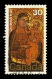 Virgin and Child by Jacopo di Cione. CANADA - CIRCA 1978: A stamp printed in Canada shows painting by Jacopo di Cione, `The Virgin and Child`, circa 1978 stock image