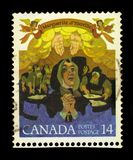 Margaret d Youville, founder of Grey Nuns. CANADA - CIRCA 1978: stamp printed Canada shows saint Marguerite d`Youville, french canadian widow who founded the stock photography