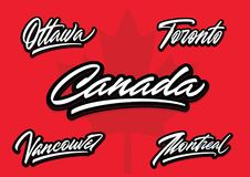 Canada and cities brush vector lettering Stock Photos