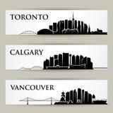 Canada cities skylines - vector illustration. Canada cities skylines - three cityscapes Stock Images