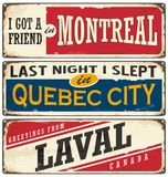 Canada cities vintage metal signs collection Stock Photography
