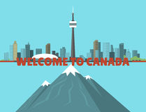 Canada city creek mountain nature skyline peak background downtown canadian cityscape vector illustration. Scenic panorama beautiful tower architecture vector illustration