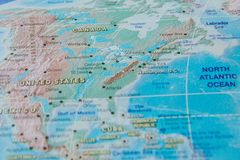 Canada in close up on the map. Focus on the name of country. Vignetting effect.  stock photography