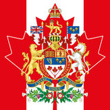 Canada coat of arm and flag Royalty Free Stock Photos