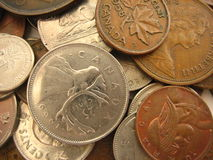 Canada Coins. Close up of various coins from Canada stock photography