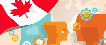 Canada concept of thinking growing innovation discuss country future brain storming under different view represented. With heads gears and flag vector vector illustration