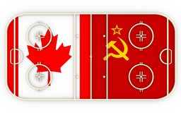 Canada contre l'URSS Concurrence d'histoire de hockey sur glace Images stock