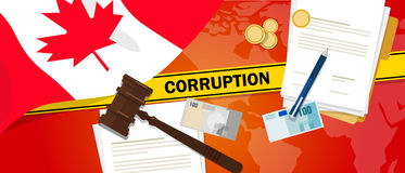 Canada corruption money bribery financial law contract police line for a case scandal government official. Vector Stock Photos