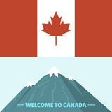Canada country flag symbol maple leaf canadian freedom nation mountain vector illustration Stock Photography