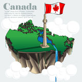 Canada country infographic map in 3d. With country shape flying in the sky with clouds with the big flag and lakes. Digital vector image Stock Photography
