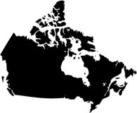 The Canada country Map illustration black. royalty free stock image