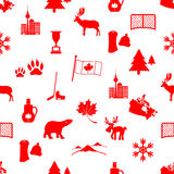 Canada country theme symbols icons seamless pattern Stock Image