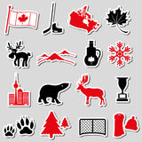 Canada country theme symbols stickers set eps10 Stock Photography