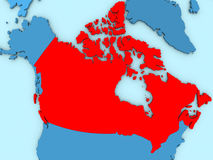 Canada on 3D map. Country of Canada highlighted in red on blue map. 3D illustration vector illustration