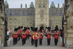 Canada Day. Military band in traditional British uniform marching during Canada Day celebration in Ottawa on July 1st, 2007 Royalty Free Stock Image