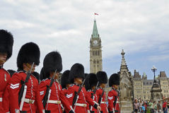 Canada Day. Military parade in Ottawa during Canada Day celebration. Ceremonial Honor Guard in traditional British Imperial (XIX century) uniform marching Stock Image