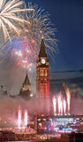 Canada Day. Fireworks on Parliament Hill with the Peace Tower Stock Photo