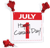 Canada Day. July 1st Calendar page with Canada Day and maple leaf push pins Stock Photos