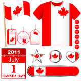 Canada Day. Set of icons and buttons Stock Photos