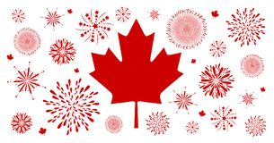 Canada day background design of flag and firework. On white background vector illustration Royalty Free Stock Photo