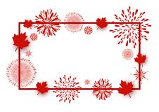 Canada day background design of maple leaves and firework. With line frame on white background vector illustration Royalty Free Stock Photography