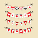 Canada Day buntings and festive garlands icons Royalty Free Stock Images